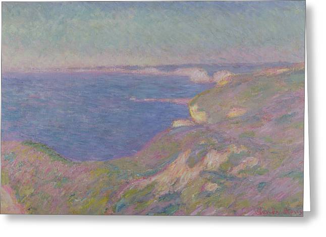 Near Greeting Cards - The Cliffs Near Dieppe Greeting Card by Claude Monet