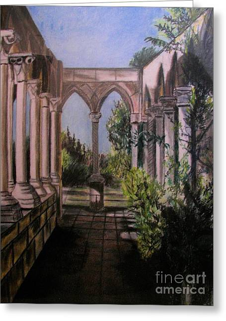 Gothic Pastels Greeting Cards - The Cloisters Colonade Greeting Card by Judy Via-Wolff