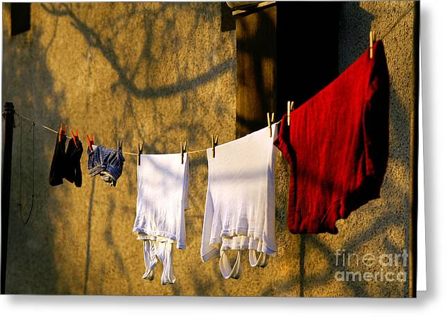 Recently Sold -  - Gold Lame Greeting Cards - The clothes Greeting Card by Odon Czintos