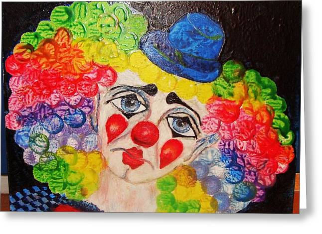 The Clown In Me Greeting Card by Jeanne Mytareva