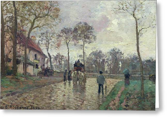 Camille Pissarro Greeting Cards - The Coach to Louveciennes Greeting Card by Camille Pissarro