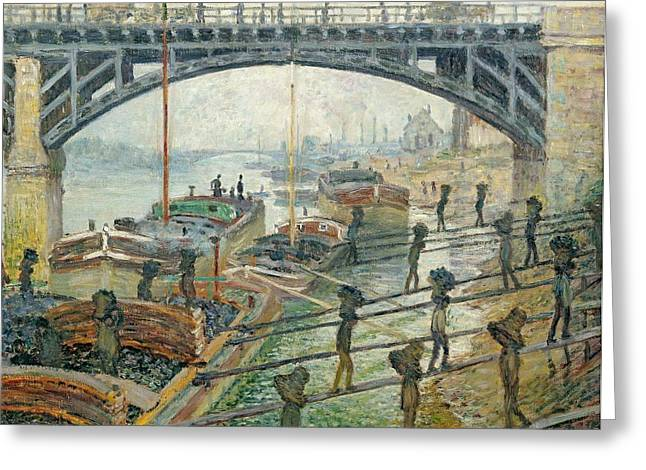 Unloading Greeting Cards - The Coal Workers Greeting Card by Claude Monet