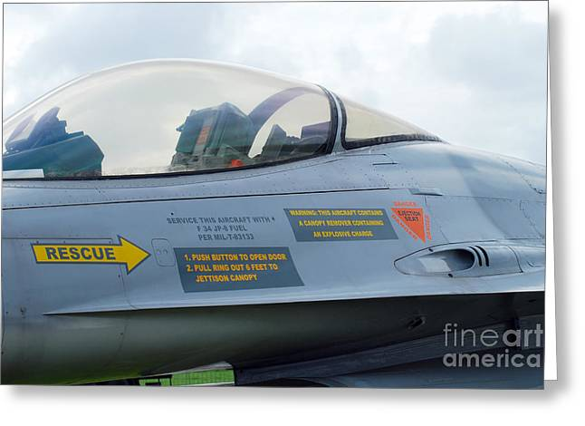 The Cockpit Of An F-16 Fighting Falcon Greeting Card by Luc De Jaeger