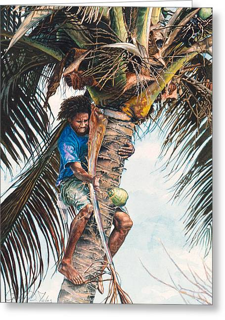 Etc. Paintings Greeting Cards - The coconut tree Greeting Card by Gregory Jules