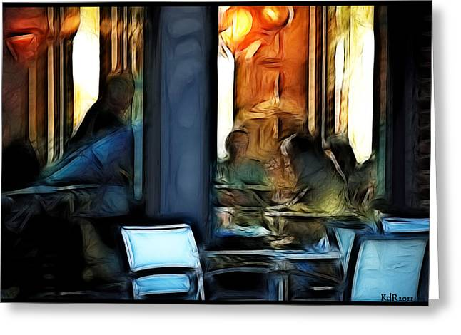 Kelly Greeting Cards - The Coffee Shop Greeting Card by Kelly Rader