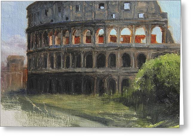 Ruin Greeting Cards - The Coliseum Rome Greeting Card by Anna Bain