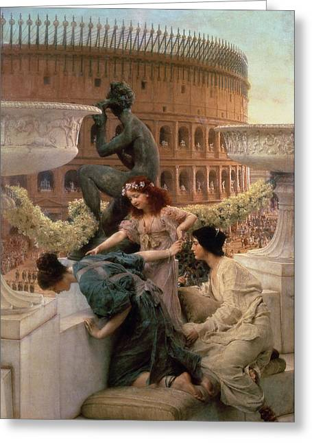 Roman Statue Greeting Cards - The Coliseum Greeting Card by Sir Lawrence Alma-Tadema