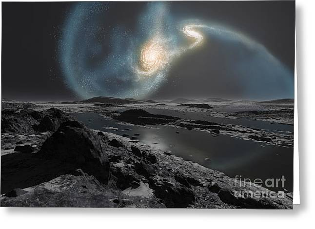 Interstellar Space Digital Art Greeting Cards - The Collision Of The Milky Way Greeting Card by Ron Miller
