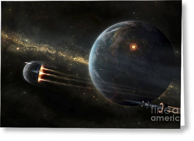 The Colonized Moon Is Escaping Greeting Card by Tobias Roetsch