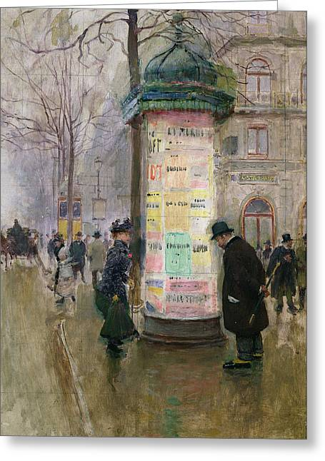 Leaflets Greeting Cards - The Colonne Morris Greeting Card by Jean Beraud