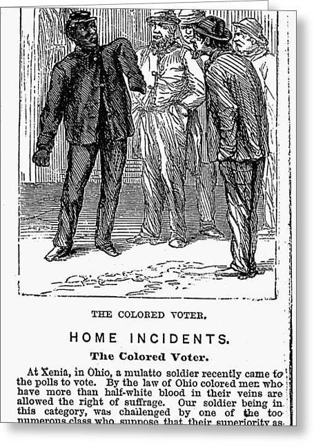 Democratic System Greeting Cards - The Colored Voter, 1867 Greeting Card by Granger