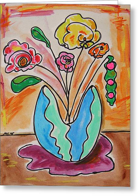 Vase Of Flowers Drawings Greeting Cards - The Colors of Sherbert Greeting Card by Mary Carol Williams