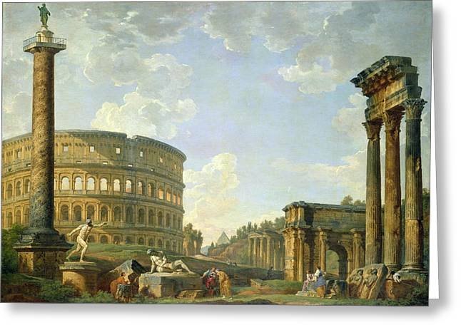 Roman Statue Greeting Cards - The Colosseum and other Monuments Greeting Card by Giovanni Paolo Panini