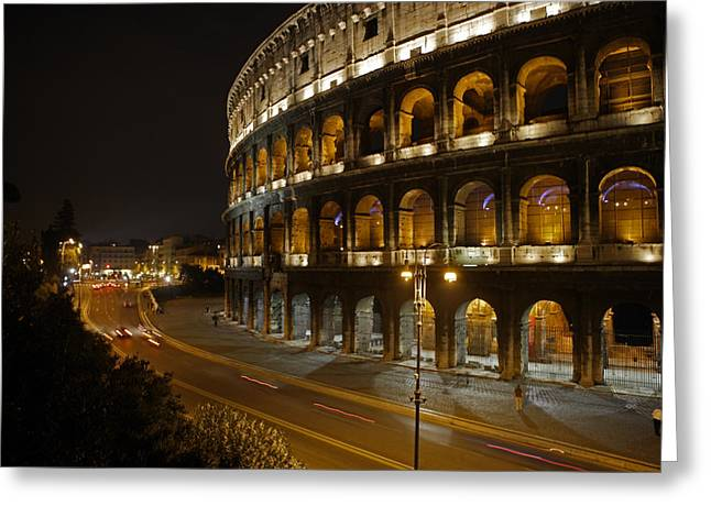 Recently Sold -  - Historical Images Greeting Cards - The Colosseum At Night Greeting Card by Stephen Alvarez