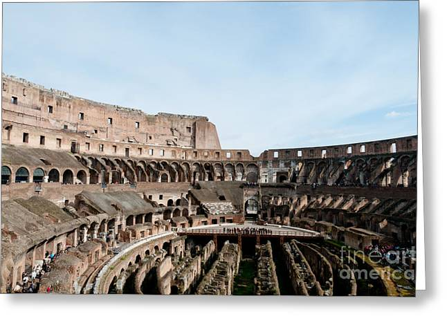 Gladiator Greeting Cards - THE COLOSSEUM colosseo ruins of the gladiators stadium rome italy Greeting Card by Andy Smy