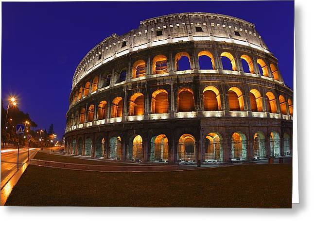 Historic Buildings Of The World Greeting Cards - The Colosseum In Rome, Italy Greeting Card by Carson Ganci