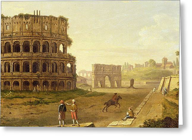 Built Paintings Greeting Cards - The Colosseum Greeting Card by John Inigo Richards