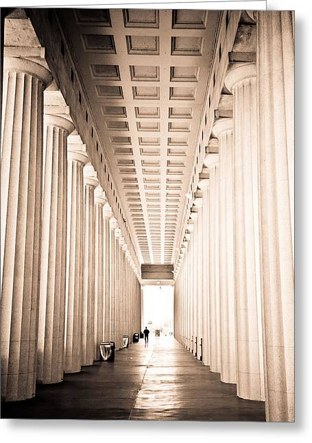 National Football League Greeting Cards - The Columns at Soldier Field Greeting Card by Anthony Doudt