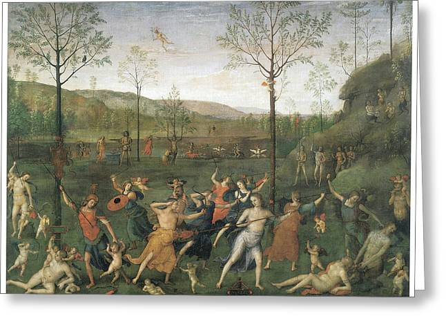 Chastity Greeting Cards - The Combat of Love and chastity Greeting Card by Pietro Perugino