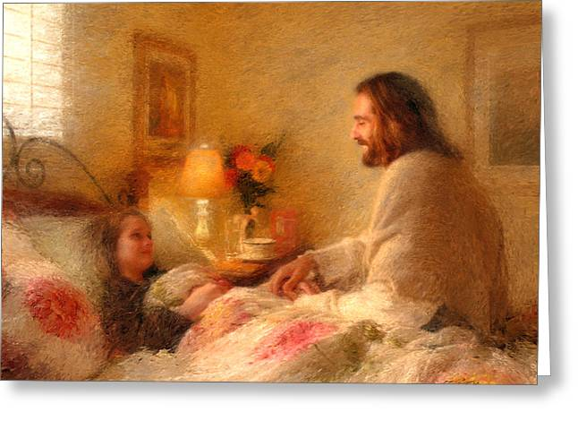 Greg Olsen Greeting Cards - The Comforter Greeting Card by Greg Olsen