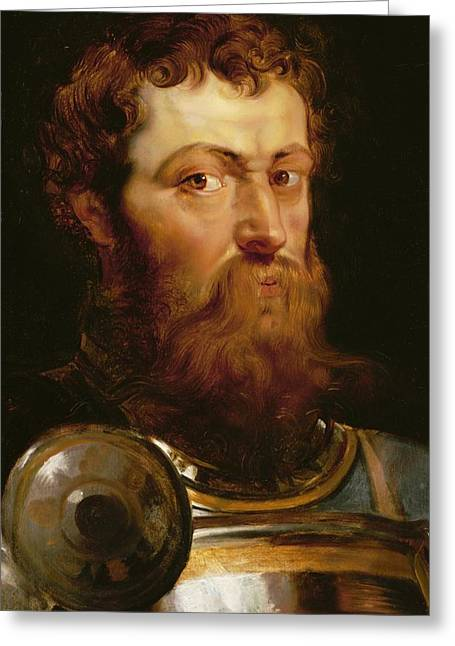 Valiant Greeting Cards - The Commanders Head  Greeting Card by Peter Paul Rubens