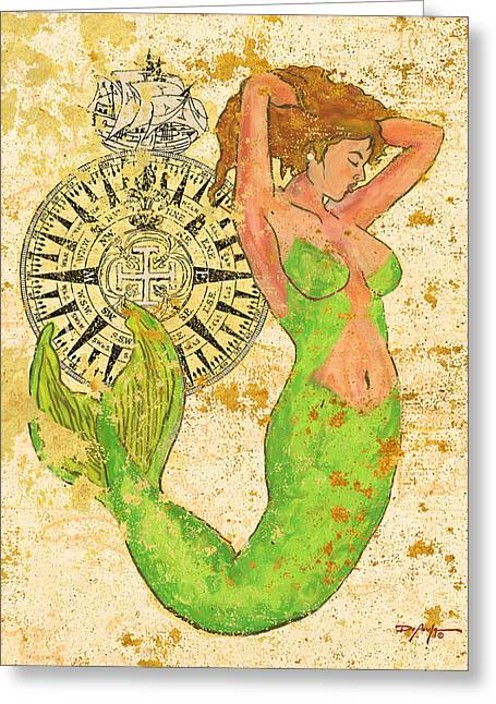 Galleon Pastels Greeting Cards - The Compass and the Mermaid Greeting Card by William Depaula
