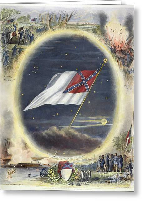 Confederate Flag Photographs Greeting Cards - The Confederate Flag, 1867 Greeting Card by Granger