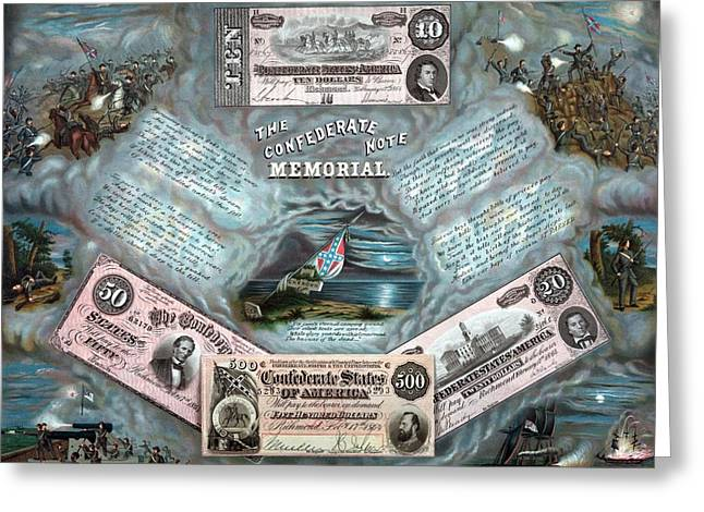 Note Greeting Cards - The Confederate Note Memorial  Greeting Card by War Is Hell Store