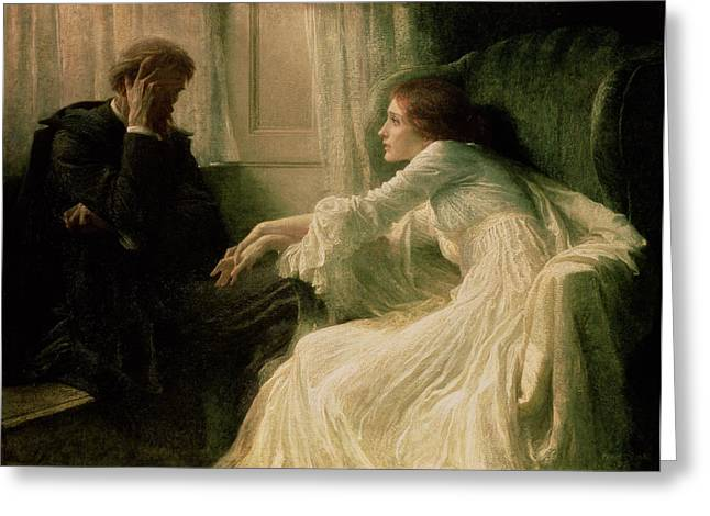 Armchair Greeting Cards - The Confession Greeting Card by Sir Frank Dicksee