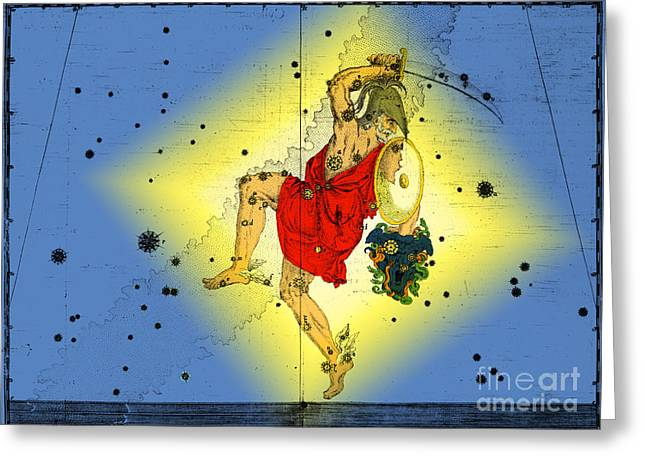 Medusa Greeting Cards - The Constellation Perseus Greeting Card by Omikron