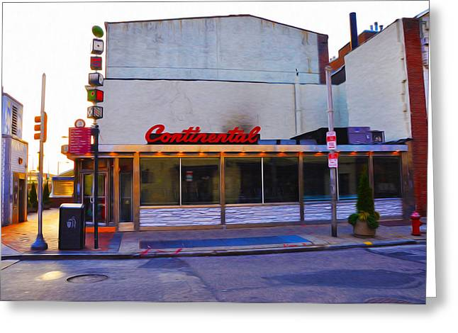 Phillies Art Digital Art Greeting Cards - The Continental Diner Greeting Card by Bill Cannon