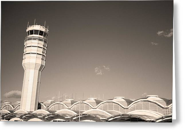 International Airports Greeting Cards - The control tower and Greeting Card by Stephen Alvarez