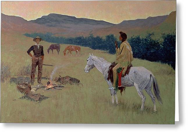 The Horse Greeting Cards - The Conversation Greeting Card by Frederic Remington