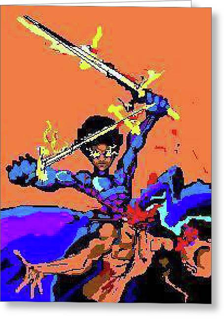 3-d Glasses Greeting Cards - The Conzstable and  Sword Greeting Card by Derrick Hayes