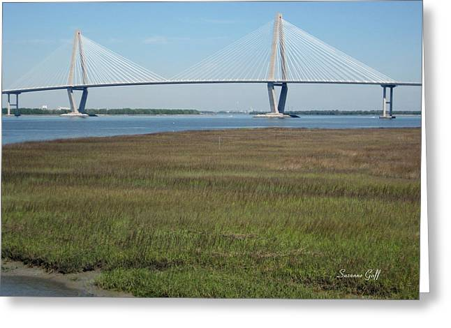 River View Greeting Cards - The Cooper River Bridge - Beauty and Simplicity Greeting Card by Suzanne Gaff