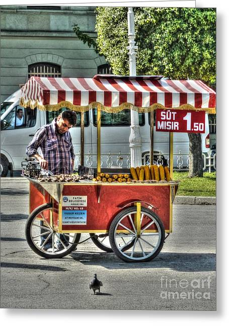 Streetfood Greeting Cards - The Corn Vendor Greeting Card by Michael Garyet
