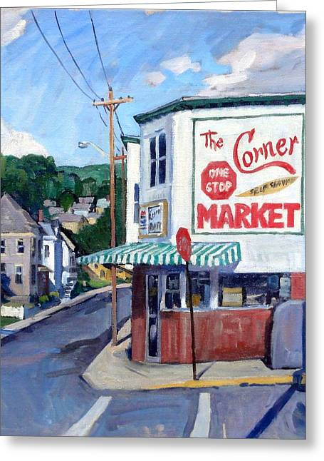 Forties Paintings Greeting Cards - The Corner Market Greeting Card by Thor Wickstrom