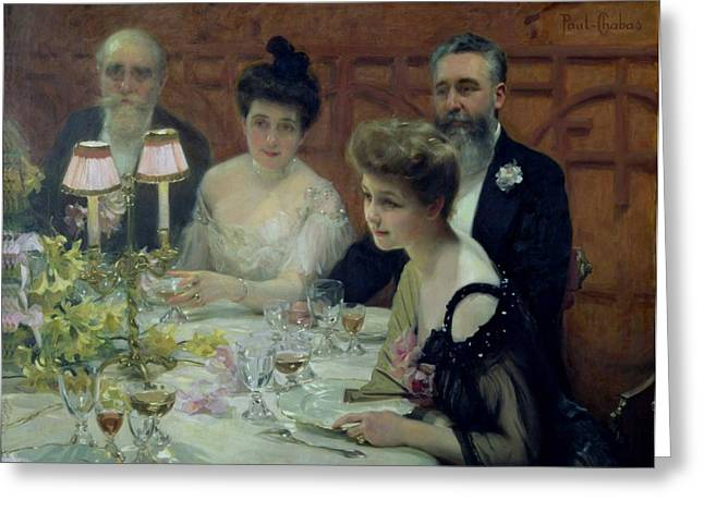 20thc Greeting Cards - The Corner of the Table Greeting Card by Paul Chabas