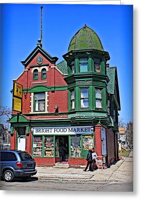 Grocery Store Greeting Cards - The Corner Store Greeting Card by Geoff Strehlow