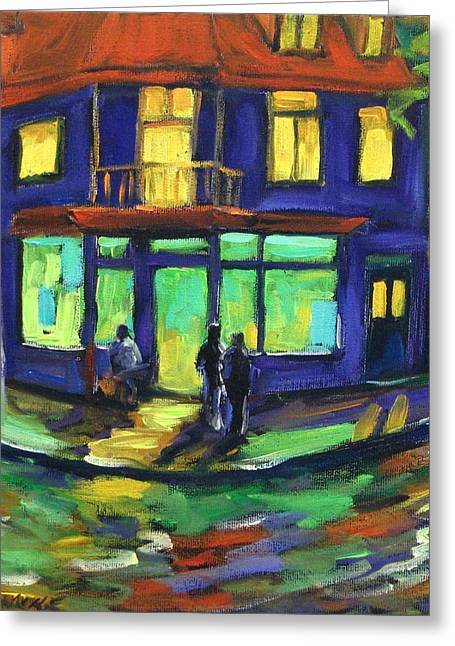 Quebec Streets Paintings Greeting Cards - The Corner Store Greeting Card by Richard T Pranke