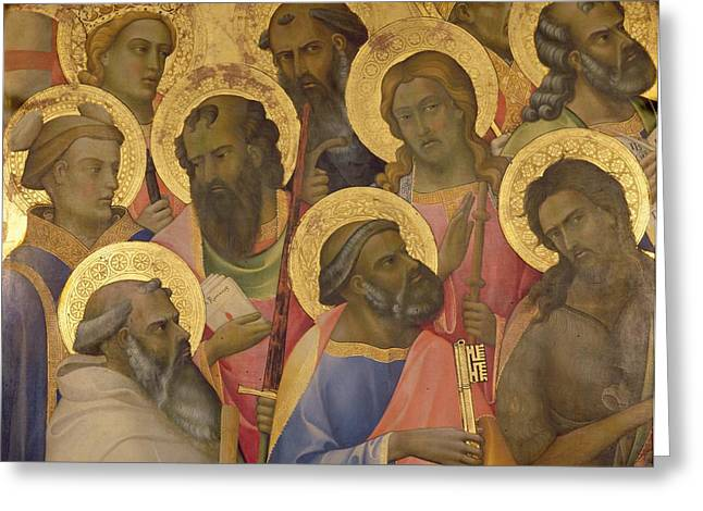 Early Christianity Greeting Cards - The Coronation of the virgin Greeting Card by Lorenzo Monaco