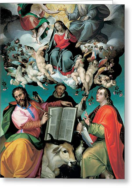 Virgin Greeting Cards - The Coronation of the Virgin with Saints Luke Dominic and John the Evangelist Greeting Card by Bartolomeo Passarotti