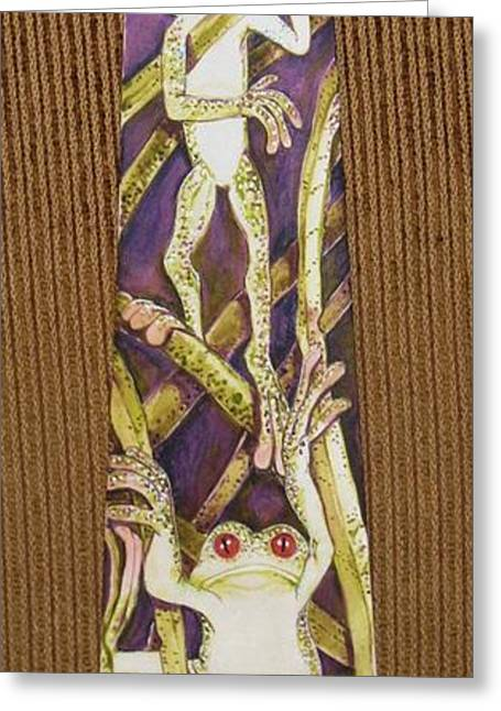Amphibians Tapestries - Textiles Greeting Cards - The Corporate Ladder Greeting Card by David Kelly
