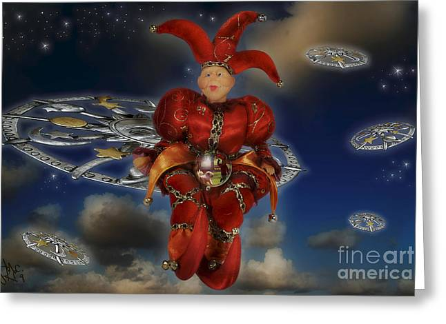 Jesters Puppet Greeting Cards - The Cosmic Fool Wisdom Greeting Card by Rosa Cobos