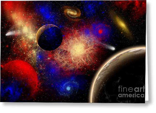 Luminous Globe Greeting Cards - The Cosmos Is A Place Of Outstanding Greeting Card by Mark Stevenson