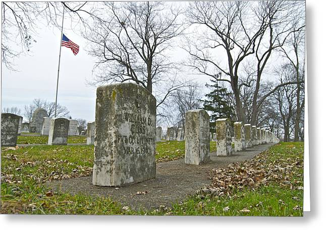 Headstones Greeting Cards - The Cost of War 0063 Greeting Card by Michael Peychich