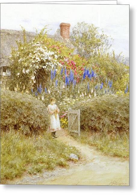 Thatch Greeting Cards - The Cottage Gate Greeting Card by Helen Allingham