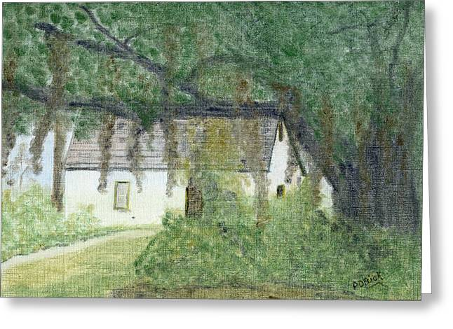 Moss Pastels Greeting Cards - The Cottage-st. Simons Is. Ga Greeting Card by Diane Frick