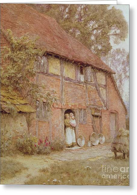 Wooden House Greeting Cards - The Cottage with Beehives Greeting Card by Helen Allingham