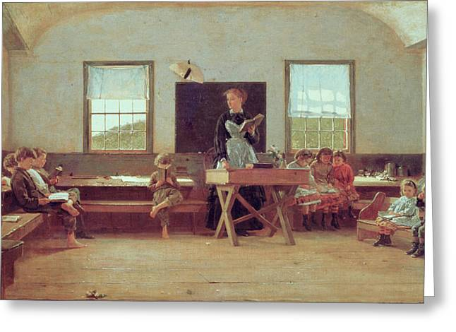 Lesson Greeting Cards - The Country School Greeting Card by Winslow Homer